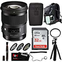Sigma 50mm F1.4 DG HSM Art Lens for Nikon with Backpack and Accessory Bundle
