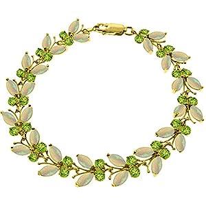 12 CTW 14K Solid Gold Butterfly Bracelet Opal Peridot