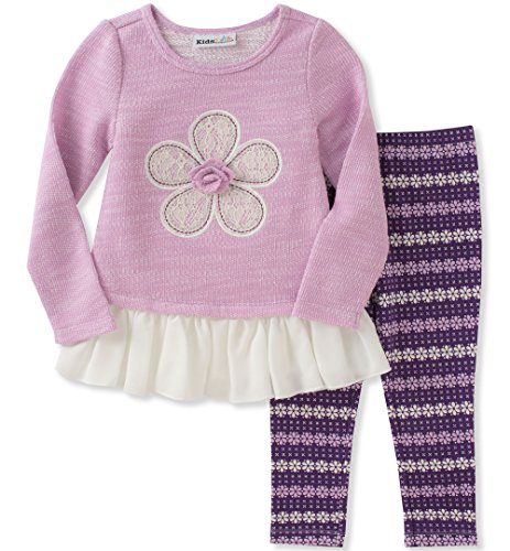 Lilac Baby Girl (Kids Headquarters Baby Girls' Tunic Legging Set, Heather Lilac/Multi, 12M)