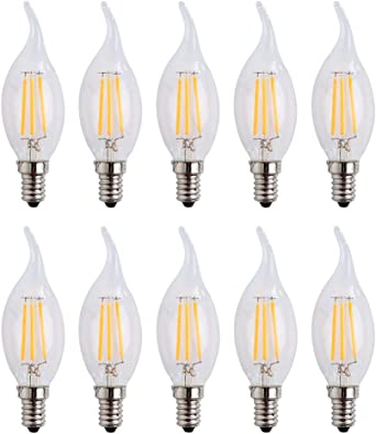 E14 4W LED vela de filamentos luz 40W bombilla incandescente equivalente, luz blanca cálida 2700 K 400LM No Regulable Pack de 10: Amazon.es: Iluminación