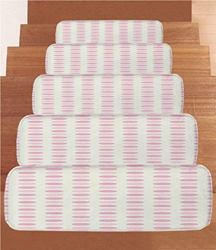 SoSung Geometric Coral Fleece Stair Treads,Stair Tread Mats,Romantic Pale Polka Dots Abstract Valentines Day Themed Illustration Decorative,(Set of 5) 8.6