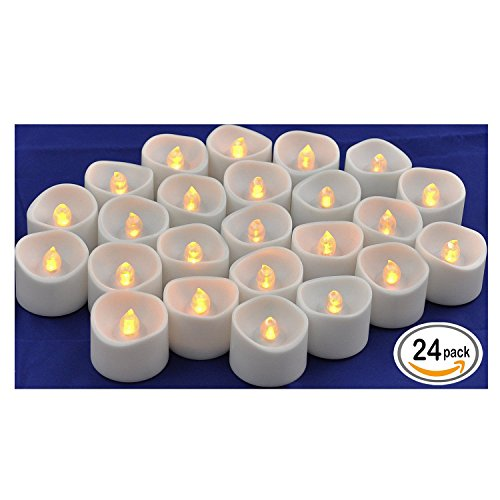 Flameless LED Tea Light Candles, Realistic Flickering Amber Yellow Battery Powered Bulb Tealight | Perfect for Seasonal Décor, Parties, Celebrations and Special Events | Pack of 24 |Instapark