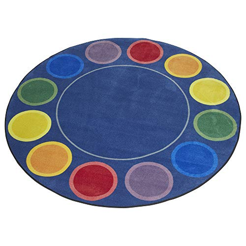 ECR4Kids Spot On Seating Area Rug for Children, Kids' Educational Carpet for School/Classroom/Home, 6 Foot Round, Assorted Colors