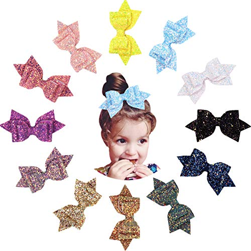 12pcs 5 Inch Glitter Hair Bows Clips Bling Party Hair Bows Clips Multi Color Glitter Sequins Big Hair Bows Alligator Clips for Girls Infants Toddlers Women