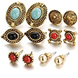 Shining Diva Fashion Jewellery Antique Stylish Fancy Party Wear Studs Traditional Earrings For Women Girls Combo(Golden)(cmb278)
