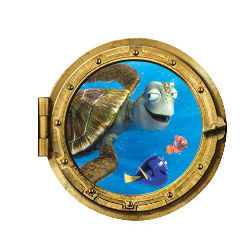 Fangeplus(TM) DIY Removable Porthole Port Scape Finding Nemo Submarine 3D View Art Mural Vinyl Waterproof Wall Stickers Kids Room Decor Nursery Decal Sticker Wallpaper (Porthole Mural)