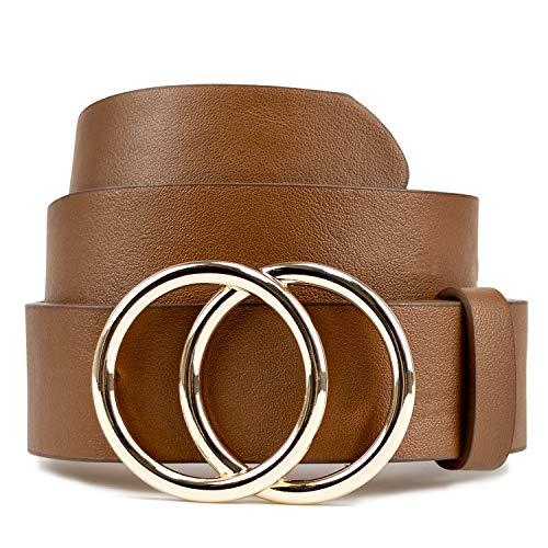 Brown belts for women Desinger Belt for Jeans Dress Fashion Soft Faux Leather Waist Belt 1 1/4
