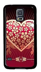 Diy Fashion Case for Samsung Galaxy S5,Black Plastic Case Shell for Samsung Galaxy S5 i9600 with Love 2
