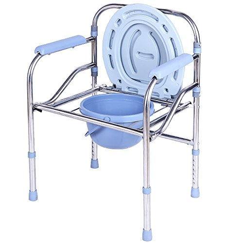 Alu Guard - ALUS- Bedside Toilet/Bath Chair, Medical Folding Supply with Safety Frame Rails Bedside, for Senior with Commode Bucket and Splash Guard (Color : Silver)