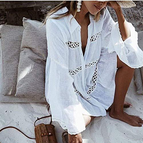 Mini Solidi Sciolto Manica Tempo Up 3 Stlie Donna Bikini Abito Vestiti Libero Grazioso Mare Scavare Cover Tunica Schwarz Collo Rotondo Vestito Elegante Corto Estivi 4 Colori Pizzo Vestito wBUn1Zxa