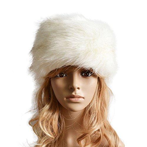Lkous Women Winter Faux Fur Russian Cossack Hat Headband Ear Warmer,Christmas Gift Ideas