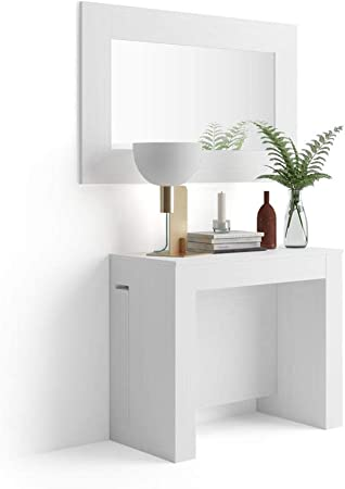 Tavolo Consolle Allungabile Bianco.Mobili Fiver Tavolo Consolle Allungabile Con Porta Prolunghe Easy