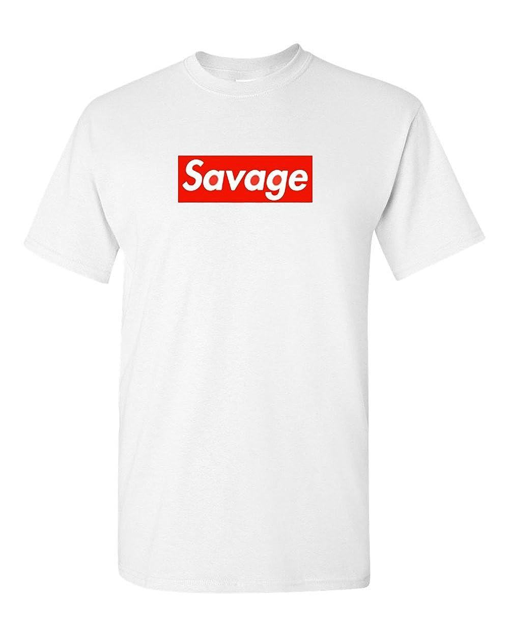 0b593222c99 Amazon.com  Supreme Savage Box Logo T Shirt - 21 Savage  Clothing