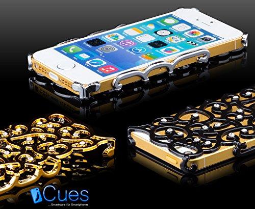 Apple iPhone SE / 5S / 5 | fleurs iCues Silver Case strass | [Protecteur d'écran inclus] Glitter Glitter Strass luxe bling dames femmes filles cas Chrome peau Couvercle de protection Couvercle Coque H
