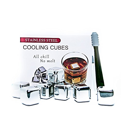 Whiskey Stones Reusable Ice Cubes - Set of 8 - Stainless Steel Ice Cube Set with Tongs, Storage Tray and Gift Box - Whiskey Stones for Women and Men - Chill Liquor, Wine, Juice - Metal Ice Cubes