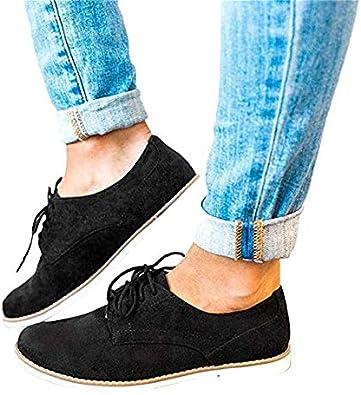 Femmes Ville Vintage Brogue Chaussures Cuir Talons /à Lacets Plate Bottines Loisirs Dames Chaussures Grande Taille Noir Rose Gris Bleu Brown 35-43