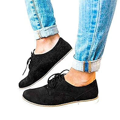 Lace up Flats Womens Shoes Brogue Ladies Suede Casual Derby Shoe Low top 3 cm Heels Fashion Comfort Sneakers Black Pink Grey 3-7 UK