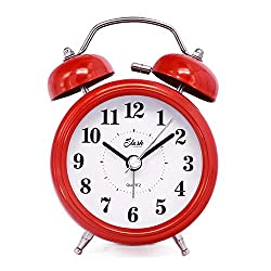 Slash 3 Vintage Retro Old Fashioned Quiet Non-ticking Sweep Second Hand, Quartz Analog Twin Bell Clock, Battery Operated, Loud Alarm, Nightlight Function (Red) S10123