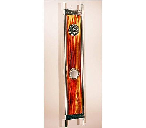 Statements2000 Eye-Catching Fusion of Silver, Orange Gold Jewel Tone Contemporary Metallic Pendulum Wall Clock – Modern Time-Piece, Home Accent – Functional Metal Art – Phoenix Clock by Jon Allen