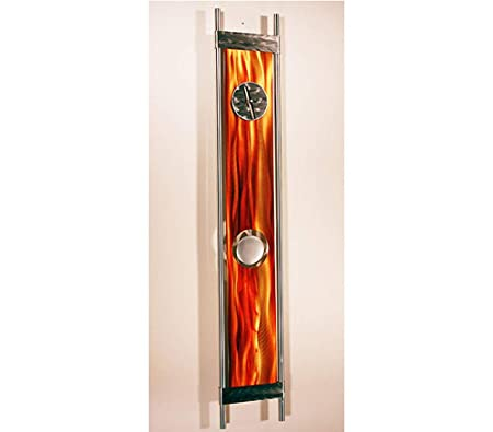 Statements2000 Eye-Catching Fusion of Silver, Orange Gold Jewel Tone Contemporary Metallic Pendulum Wall Clock – Modern Time-Piece, Home Accent – Functional Metal Art – Phoenix Clock by Jon Allen