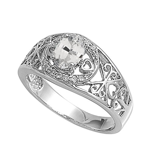 - 925 Sterling Silver Oval Faceted Natural Genuine White Topaz Filigree Ring Size 4