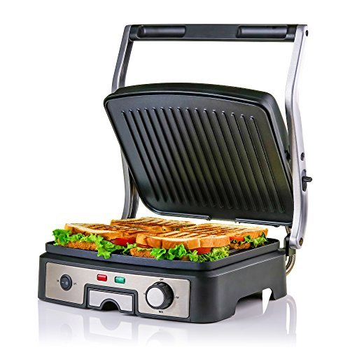 180/° Hinge Grill Brush Nickel Non-Stick Coated Plates Ovente GP1861BR 6-Slice Multi-Purpose Electric Panini 3 Heat Settings,1500W Cool-Touch Handle Drip Tray