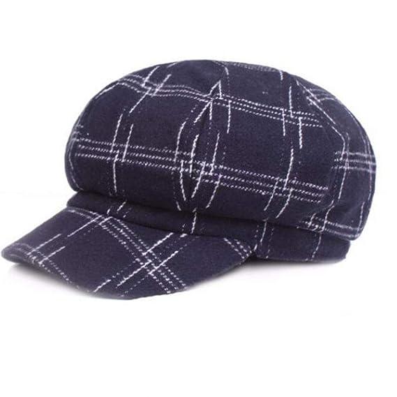 YXYP Boinas de Hombres Mujer Newsboy Hat Gorra de Golf de Moda Tapa Octogonal (A