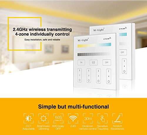 Mi.Light 9W 2.4G WiFi Led Bulb A19 WW+CW Warm White+Cool White Color Dual White CCT Temperature Adjustable,Memory Function.RF Remote,B2 T2 Panel and iBox for Smartphone Control All is Sold Separately