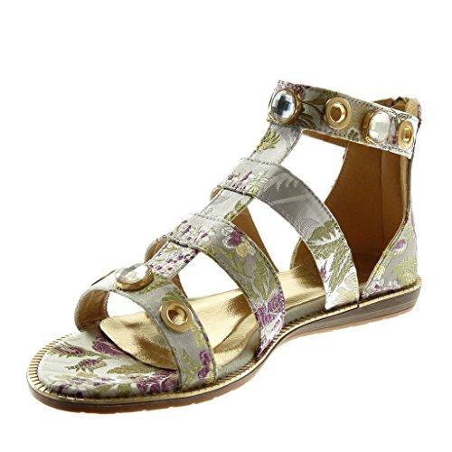Angkorly Correa Tac Tobillo Zapatillas de Sandalias Joyas Flores Gladiator Moda Mujer Bordado rpqrxOAw