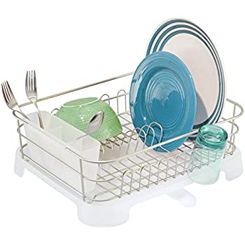 Dish Drainer Stainless Steel Drying Rack with 3-Piece Set and Removable  Utensil Holder Small b54dcf029592