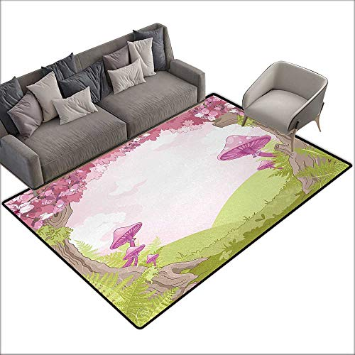 Non-Slip Carpet Mushroom Cherry Blossom Trees Fairytale Land Forest Surreal Fantasy Wonderland Image W70 xL106 Suitable for Bedroom, Living Room, Games Room, Foyer or Dining Room