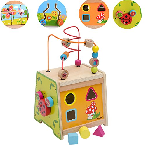Play Maze - Wondertoys Wooden Activity Cube Bead Maze Shape Sorter Matching Blocks Game Multifunction Wood Intelligence Box 5 in 1 Early Development Toys for Toddlers