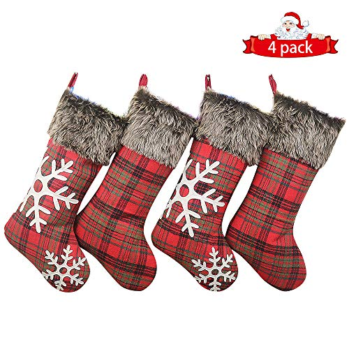 Thomtery Christmas Stockings 4 Pack, 18 Inches Burlap Stockings Plaid Style with Snowflake Xmas Stockings Plush Faux Fur Cuff Stockings Christmas Decoration (Bulk Stockings In Christmas)