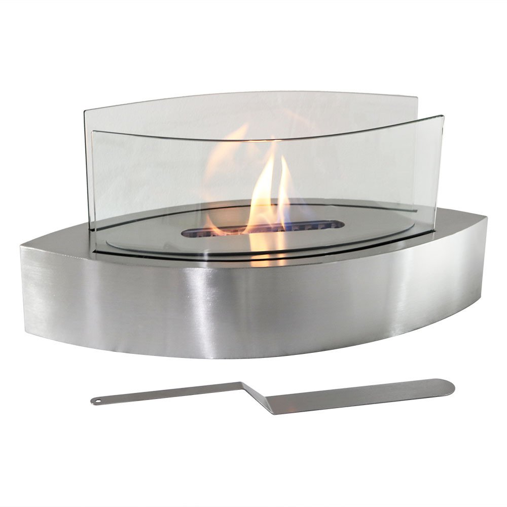 Sunnydaze Barco Ventless Tabletop Bio Ethanol Fireplace, Stainless Steel