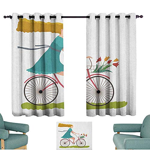 - Bicycle,Extra Wide Curtains Young Woman on Bike with Basket of Tulip Flowers Riding in The Spring Countryside 42