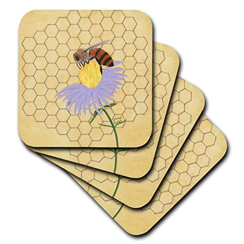 3dRose Honey Bee on Flower - Ceramic Tile Coasters, Set of 4 (CST_13577_3)