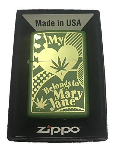 Zippo Custom Lighter -My Heart Belongs to Mary Jane Weed Pot Leaf Marijuana