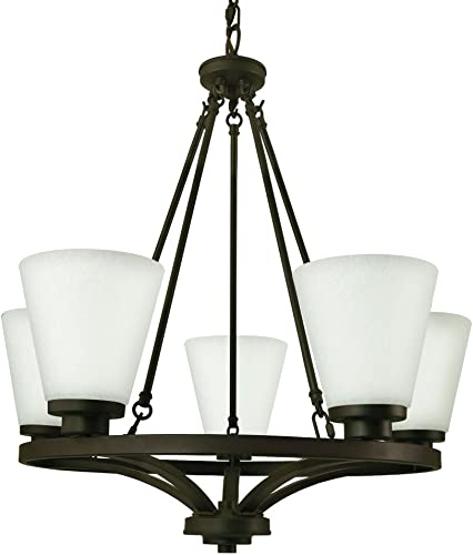 Good Earth Lighting G4859-DBZ-I Taos 5 Light Chandelier, Dark Bronze-Frosted White Glass