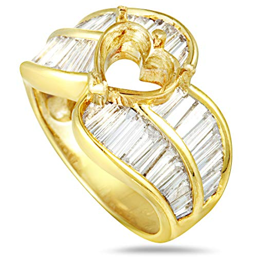 Mounting Diamond Gold (MFC(Est.) 18K Yellow Gold Baguette Diamonds Heart Mounting Ring)