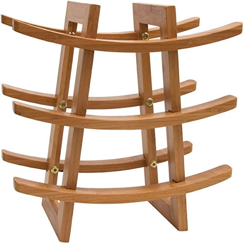 Small Wine Rack - EcoTrueBamboo - Wine Storage for 9 Bottles - Perfect for Vino Bars and Cellars - Countertop and Apartment Furniture, Urban living - Give as Wedding Gift! Fancy Moso Bamboo Material