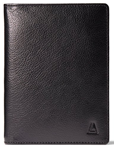 - Leather Architect Men's 100% Leather RFID Blocking Passport Holder With 3 Slip-In Pockets Black