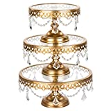 Victoria Gold Cake Stand Set of 3, Round Glass Plate Metal Dessert Cupcake Pedestal Wedding Party Display with Crystals