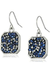 "Kenneth Cole New York ""Blue Sprinkle Stone"" Mixed Sprinkled Stone Silver Drop Earrings"