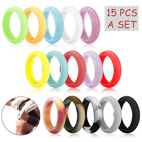 FUNRUN JEWELRY 15 PCS 6MM Silicone Wedding Ring for Women Men Exercise bands Antibacterial Hypoallergenic Rubber Wedding Bands Non-toxic & Skin Safe Stylish Color Combos Comfortable Fit Size 7 ()