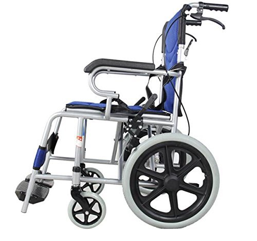 Foldable Lightweight Manual Transport Medical Wheelchair (Blue)