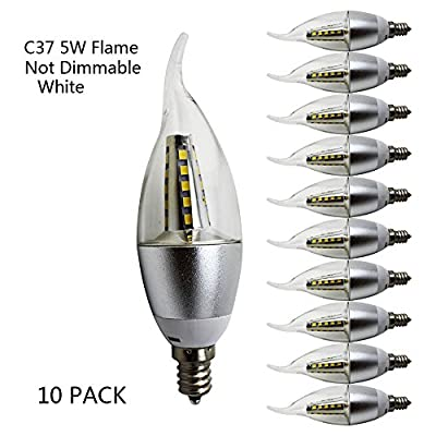 5w LED Candelabra Bulb 40W Equivalent E12 Base 350LM, CRI>80, Non- Dimmable, Chandelier, LED Candle Bulbs,Clear Flame Tip.