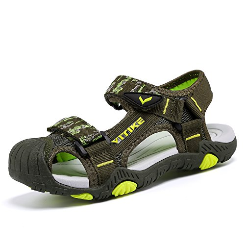 - Littleplum Boys Girls Outdoor Sport Closed-Toe Sandals Kids Breathable Mesh Water Athletic Sandals Shoes Green/Yellow
