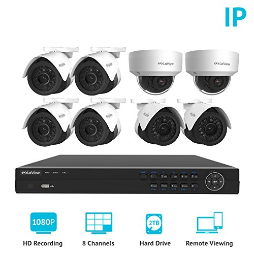 LaView 2MP 1080P IP 8 Camera Security System, 8 Channel 1080