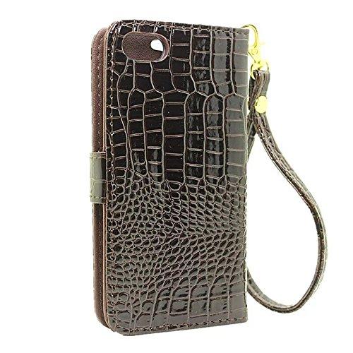 Hülle für iPhone 7 ,Schutzhülle Für iPhone 7 Krokodil Muster PU Ledertasche, ,cover für apple iPhone 7,case for iphone 7 ( Color : Brown )