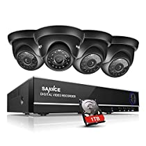SANNCE 8-Channel HD 1080N Home Security System DVR and (4) 1.0MP Indoor/Outdoor Weatherproof Cameras with IR Night Vision LEDs, Remote Access - 1TB Surveillance Hard Disk Drive Included